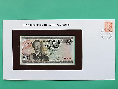 1972 Luxembourg 50 Francs Uncirculated Franklin Mint Banknote Cover SNo46081