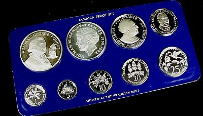 1977 Jamaica Silver Proof 9 Coin Set w/ Box & COA Franklin Mint E83