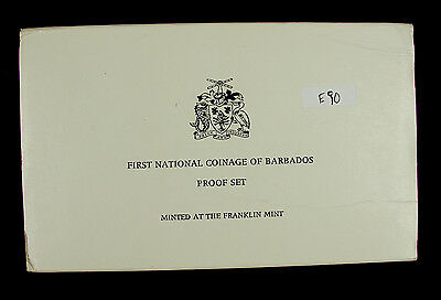 1973 Barbados Silver Proof 8 Coin Set w/ Box & COA Franklin Mint E90