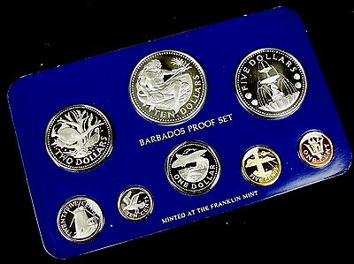 1978 Barbados Silver Proof 8 Coin Set w/ Box & COA Franklin Mint E89