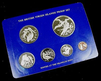 1975 British Virgin Islands Silver Proof 6 Coin Set w/ Box&COA Franklin Mint E75