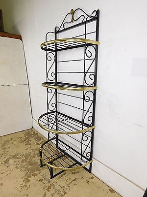 29W Pineapple Hollywood Demilune Brass Wrought Iron French Bakers Rack