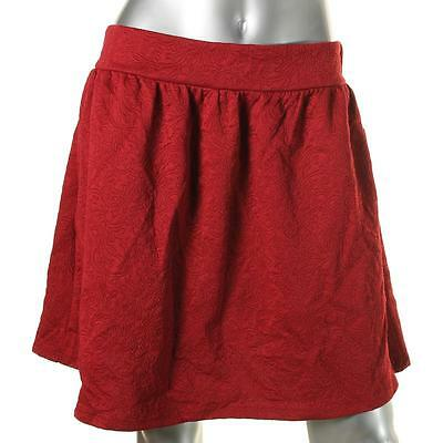 BeBop 6878 Womens Red Woven Embroidered Knee-Length A-Line Skirt Juniors M BHFO