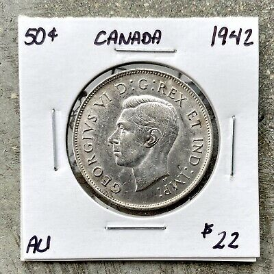1942 Canada 50 Cent Silver Coin Fifty Half Dollar B718 - $22 AU