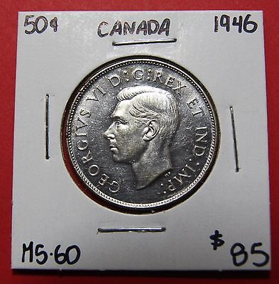1946 Canada 50 Cent Silver Coin Fifty Half Dollar B722 - UNC