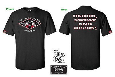 Official Gas Monkey Garage Tab T-Shirt - Blood Sweat and Beers - Hot Rod