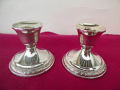 Els Co. 2 3/4'' Weighted Sterling Silver Candle Sticks 316 Grams*no Reserve