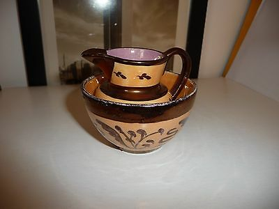 #714 vtg pottery colored Cooper Luster mini  2 1`/2'' t pitcher &  2'' t bowl