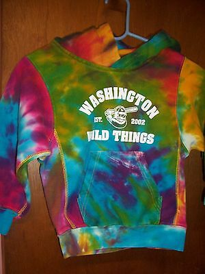 ProWeave  tie dyed hoodie w/white washington wild things graphic size Small