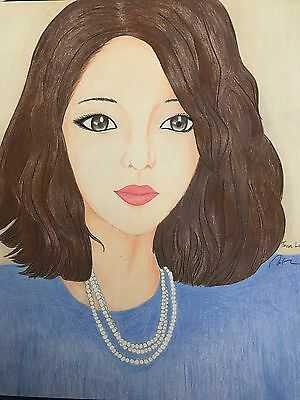 A portrait woman by colored pencils drawing