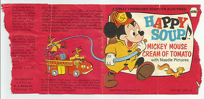 Vintage Heinz Mickey Mouse Cream Of Tomato Happy Soup Can Paper Label