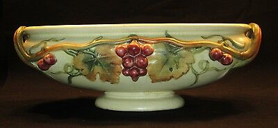 Vintage Lg.Weller Pottery Console Bowl w/ Grapes  Roma Line