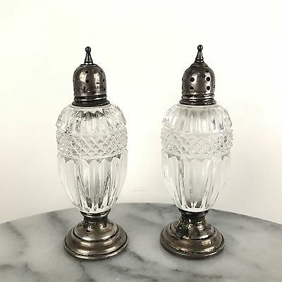 Antique Footed Sheffield Sterling Silver and Pressed Glass Salt & Pepper Shakers