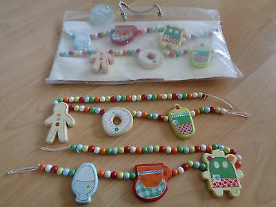 Mamas & Papas Wooden Gingerbread Tie Backs x 2 Sets for Baby's Nursery *1 BNIP*