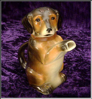 Adorable Vintage 1940's  Erphila Pottery DACHSHUND DOG Pitcher / Teapot