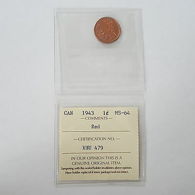 Certified ICCS 1943 Canadian 1-Cent Coin (Red) MS-64