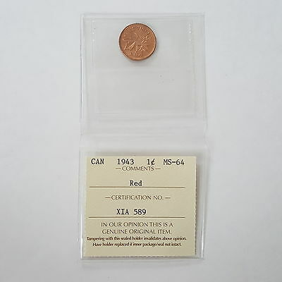 Certified ICCS 1943 Canadian 1-Cent Coin Red MS-64