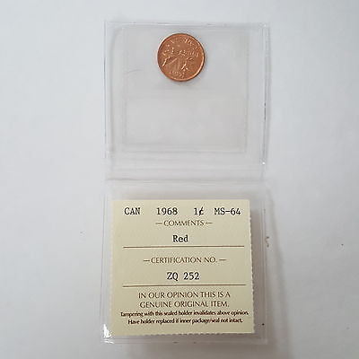 Certified ICCS 1968 Canadian 1-Cent Coin Red MS-64