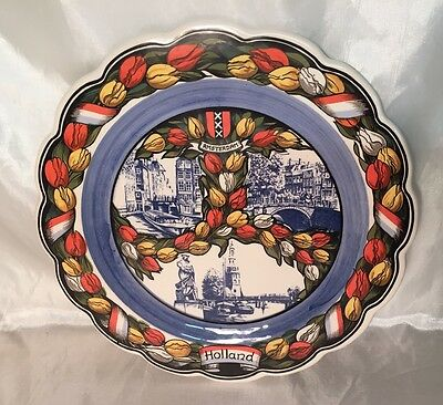 Beautiful Vintage EH Delft Colored Tulip Decorative Amsterdam Plate HOLLAND NEW