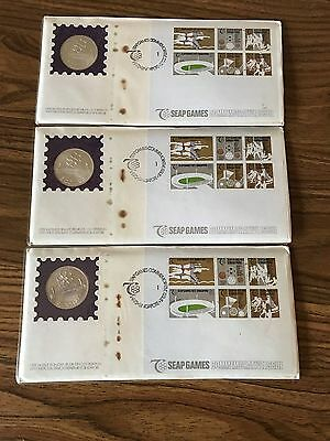 Three 1973 Singapore  $5 Silver Coins on FDC for 7th SEAP Games  w/Certification