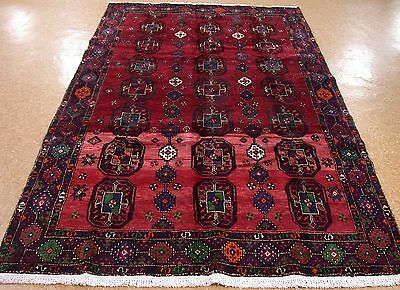 PERSIAN LURI NOMADIC TRIBAL Hand Knotted Wool RED PURPLE ORANGE Area Rug 6 x 9