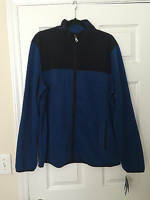 Men's Croft&Barrow blue/navy zip up fleece jacket in size Large, NWT