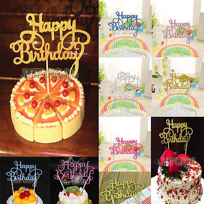NEW HAPPY BIRTHDAY Cake Decor Pick Topper Spark Glitter Party Favour Gift Craft