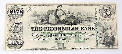 The Peninsular Bank Five Dollar Obsolete Currency Note