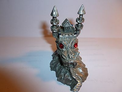 Vintage Rawcliffe Pewter Dragon Castle with Blazing red crystal eyes