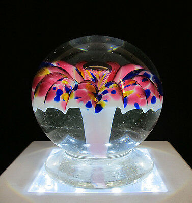 Antique 19th c Millville NJ Mushroom Spattered Footed Art Glass Paperweight yqz