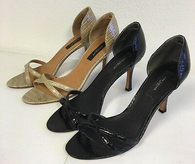 Lot of 2 Pair Ann Taylor Heels Women's Size 7M  Black and Beige Open Toe Strappy