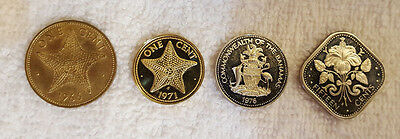Coins Bahamas - Nice Cameo Lot of 4 Coins 1966, '71, '74, '76