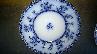 """Antique Flow Blue New Wharf Pottery 9"""" bowl Louise Pattern"""