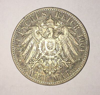 1904J Hamburg Germany Zwei (2) Mark Coin - FAST Shipping!