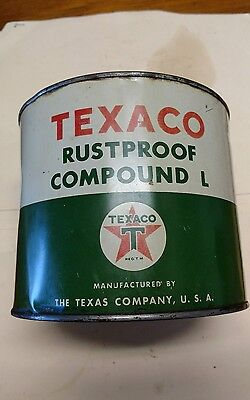 Vintage TEXACO RUSTPROOF COMPOUND L metal gas oil lube can container. Not sign.