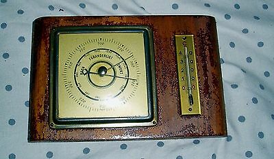 Vintage German Made Maritime Brass Barometer & Thermometer In Working Condition