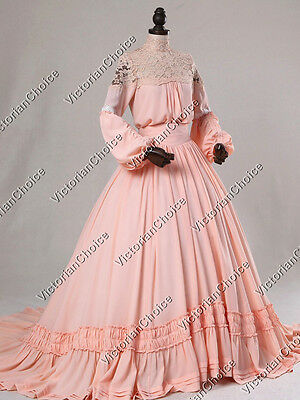 Victorian Edwardian Vintage Ghost Dress Gown Theater Women Halloween Costume 388