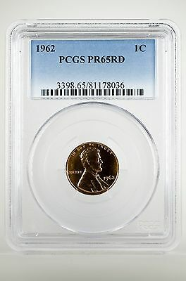 Pr65Rd 1962 Red Lincoln Penny Pcgs Graded 1C Proof Coin Liberty Us Rare One Cent