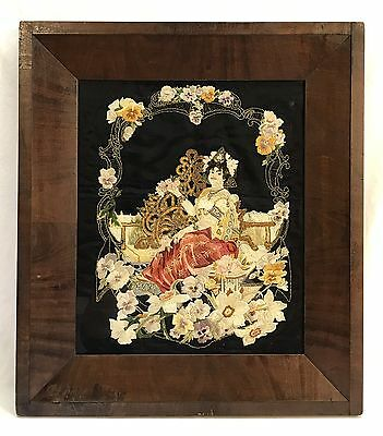 Antique Mid 19th Century Embroidery Needlework Woman Flowers Framed