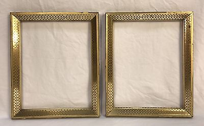 Pair Antique Late 19th C Stenciled Lemon Gold Gilt Frame Liners 8 x 10 Openings