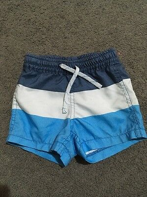 Baby Boys Quick Dry Blue Board Shorts Size 00 EUC