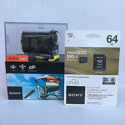 Sony HDR-AS20 Camcorder Black Full HD 1080 POV Action Camera Sport BONUS