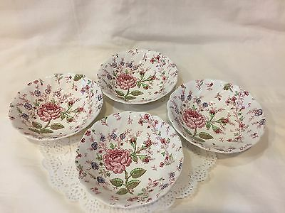 """4 Fruit/Dessert 6"""" Bowls Rose Chintz Pink -""""Made in England"""" by Johnson Brother"""