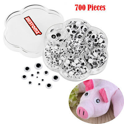 New 700Pcs/Box 9 Sizes DIY Round Self-adhesive Wiggly Googly Eyes For Doll Toy