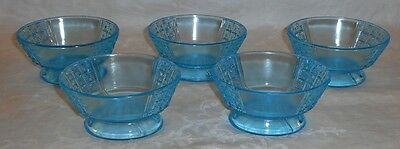 Lot of 5 Ca.1880s Richards Hartley Blue Glass EAPG Two Panel Footed Berry Bowls