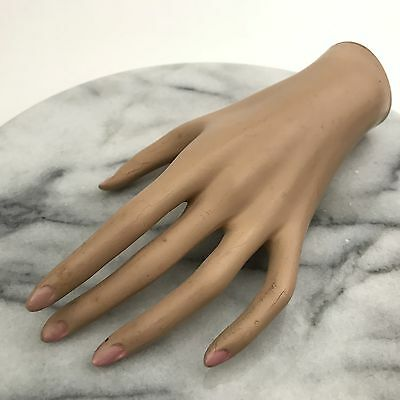 Vintage 1940s Mannequin Hand Jewelry Display Pink Nails