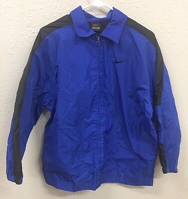 NIKE Windbreaker Jacket Blue/Black Youth Large (14-16) Waterproof Zip-Up