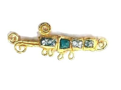 Roman Glass Fragments 200 B.C Gold Pla. Brooch Roman Ancient Style
