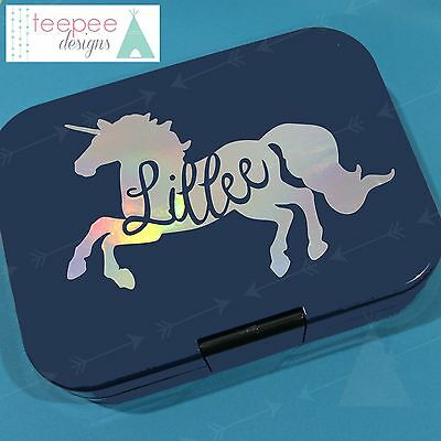 Personalised Unicorn Name Cutout Decal - Custom Vinyl Lunchbox Sticker