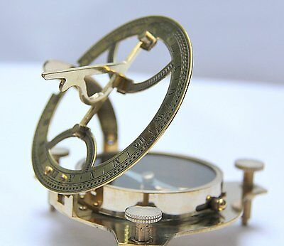 Brass Finish Sundial Magnetic Compass 4 Inch in Antique Look
